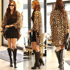 Women Leopard Tops Coats Chiffon Batwing Sleeve Casual Cardigan T Shirt Blouse