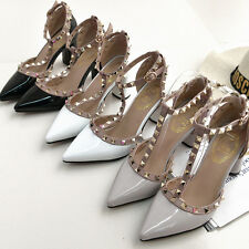 UK Women Studded Shoes Pointed Toe Ankle Strappy Pumps High Heels Rivet Sandals