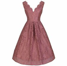 Vintage Dusky Pink Lace Embroidered Swing Party Cocktail Bridesmaids Dress 8-20