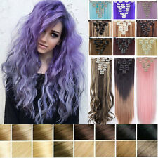 100% Natural Clip in Hair Extensions 8 Pieces 18Clips on Full Head Long Sales S1