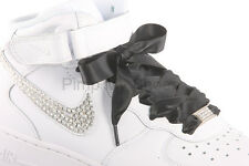 Women's Black Satin Ribbon Shoelaces with Logo Aglets for Customised Trainers