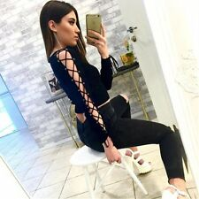 Black Hollow Long Sleeve Lace Up Crop Tops Loose Slit Blouse Party T-shirt Women