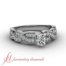 Intertwined Engagement Ring Pave Set 1 Ct Cushion Cut:Ideal Diamond SI2-F Color