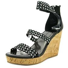 Nine West Fancy0ner7 Women  Open Toe Leather Black Wedge Sandal