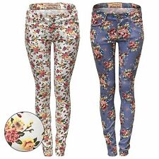NEW LADIES FLORAL PRINT SKINNY JEANS STRETCH DENIM SLIM FIT WOMENS FESTIVAL LOOK