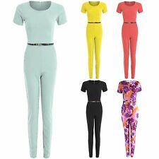 NEW WOMENS PLAIN CAP SLEEVE JUMPSUIT LADIES GOLD BELTED FLORAL TROUSERS TOP LOOK