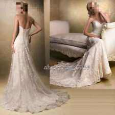 2017 New White/Ivory Lace Wedding Dress Bridal Gown Stock Size 6 8 10 12 14 16