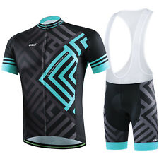 CHEJI Mens Cycling Jersey Half Sleeve Top Racing Team Biking Top Bib shorts Set