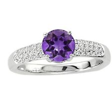 925 Sterling Pure Solid Silver Ring 6mm Natural Amethyst Round Cut Gemstone Ring
