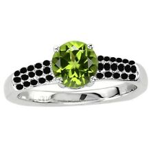 925 Sterling Pure Solid Silver Ring 6mm Natural Peridot Round Cut Gemstone Ring