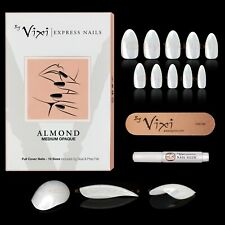 50-600x ALMOND FALSE NAILS - FAKE ✔ STICK ON ✔ Natural Opaque ✔ FREE GLUE  VIXI