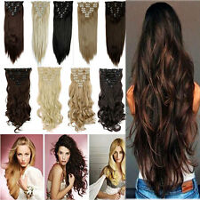 US 100% Real Clip in Hair Extensions 8 Pieces Full Head Long New as Human Hair