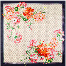 "Women's Vintage Flower Euro Fashion Printed Silk-Satin Square Scarf Shawl35""*35"""