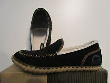 NIB Mens Sorel Dude Moc Moccassin Casual Leather Slippers Slip On Shoes Black