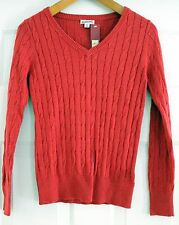Merona Ribbed Cable Knit V-Neck Long Sleeve Pullover Sweater Sz S Coral Color