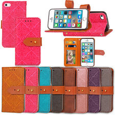 Luxury Leather Flip Button Wallet Case Stand Cover For iPhone/Samsung/LG/Huawei