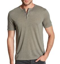 John Varvatos Star USA Men's Short Sleeve 3 Button Henley Green $78 msrp NWT