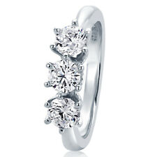 Women 5.5MM Sterling Silver Wedding Ring 1ct CZ Prong 3 Stone Anniversary Band