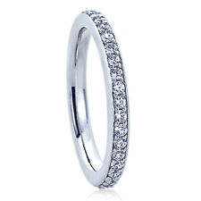 Women Women 2MM Sterling Silver Wedding Ring Round CZ Eternity Ring Wedding Band