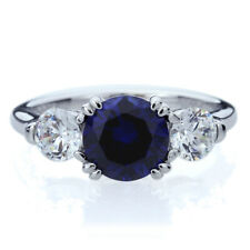 Women 8MM Silver 2ct Blue Sapphire 3 Stone Wedding Anniversary Ring Band