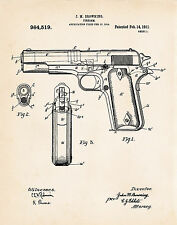 1911 Pistol Colt 45 Automatic Browning Revolver Drawing Patent Prints Gun Gifts