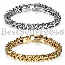 Men's Silver Gold Tone Stainless Steel Link Bracelet Cuff Bangle Wristband Gift