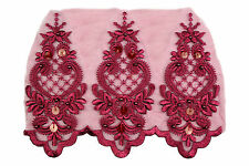 """Unotrim  8.5"""" Organza Bridal Beaded Sequins Lace Red Pink Lilac Burgundy by Yard"""