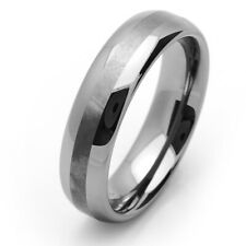 6MM Tungsten Carbide Wedding Band Polished Shiny Brushed Center Domed Ring