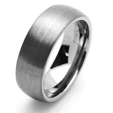 8MM Comfort Fit Tungsten Carbide Wedding Band Brushed Domed Ring / Free Gift Box