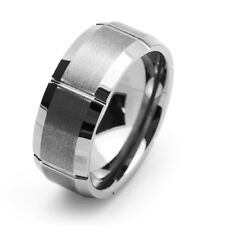 9MM Comfort Fit Tungsten Carbide Wedding Band Grooved Beveled Edges Ring