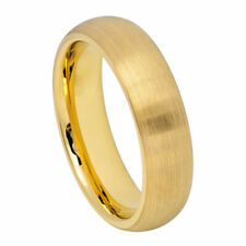 6MM Tungsten Carbide Wedding Band Domed Classic Brushed Gold Tone Ring