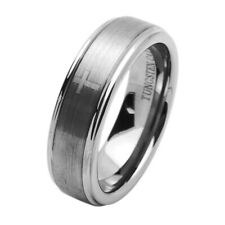 7MM Comfort Fit Tungsten Carbide Wedding Band Laser Engraved Cross Concaved Ring