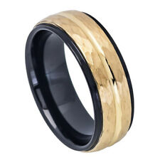 Men 8MM Tungsten Carbide Wedding Band Stepped Edge Black Hammered Gold Tone Ring