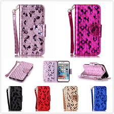 Butterfly Credit Card Flip Wallet Leather Case TPU Cover Book For iPhone Samsung