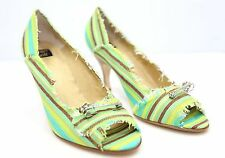 Ginger Goff Multi Color Stripe Fabric Heel Shoes Mint Brown Lime Aqua $150