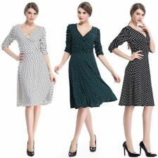 Retro Pin Up Polka Dots Swing Dress Casual Formal V Neck Mini Dress Summer Women