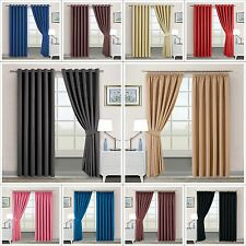 Luxury Thermal Blackout Super Soft Curtains Eyelet OR Pencil Pleat FREE Tiebacks