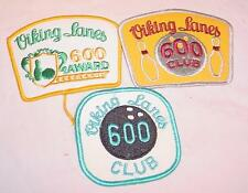 3 VINTAGE KITSCHY COOL VIKING LANES 600 CLUB BOWLING EMBROIDERED PATCHES