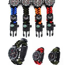 Outdoor Survival Watch Bracelet Paracord Compass Flint Fire Starter Whistle Tool