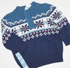 baby Gap NWT Boy's  Blue Cotton Fair Isle Nordic Sweater