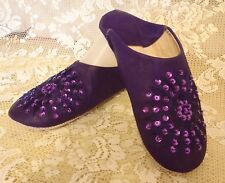 MOROCCAN * DARK PURPLE  LEATHER SEQUINED SLIPPERS