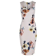 Vintage Pink Multi Floral Bodycon UK Pencil Wiggle Summer Party Cocktail Dress