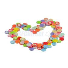 100 Pieces 11mm/12mm Resin Round Shape 2-Hole Flat Button Sewing Cardmaking