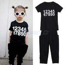 2PCS Child Kids Toddler Baby Girls Casual T-shirt Tops+Black Pants Clothes Set