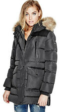 NWT GUESS Amber Down Faux Fur trim Quilted Puffer Jacket parka Black XS, S, M