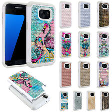 For Samsung Galaxy S7 G930 Design Bling Hybrid Rubber Silicone Case Cover Skin
