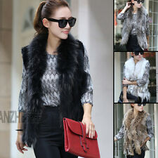 New Style Knit Farms Rex Rabbit Fur Vest/Gilet/With Ussuri Fur Collar