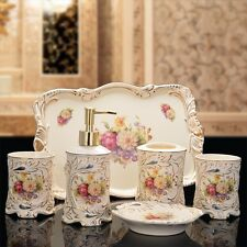 Baroque Bathroom Set Ceramic Soap Dish Shampoo Dispenser Toothbrush Holder Cup