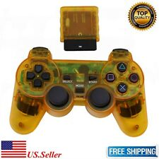 New Clear Yellow Wireless Game Controller Joypad for Sony PS2 Free Shipping