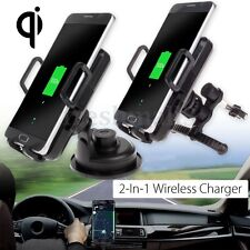 3in1 Qi Wireless Car Charger Holder Air Vent Windscreen Dashboard Phone Mount